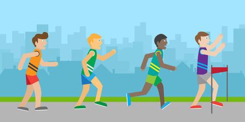 Runners on Finish Flat Style Vector Illustration