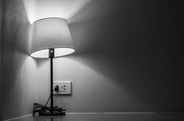 One table lamp in gray colors