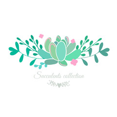 Vector floral border with succulent and pink flowers, botanical composition isolated on white.