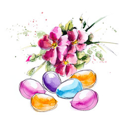 Eggs with flowers. Flower backdrop. Watercolor hand drawing illustration.