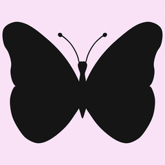 black butterfly, vector silhouette isolated
