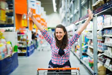 Shopaholic woman enjoying shopping spree