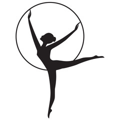 sketch Woman gymnast with the hoop isolated on a white background art creative vector design element