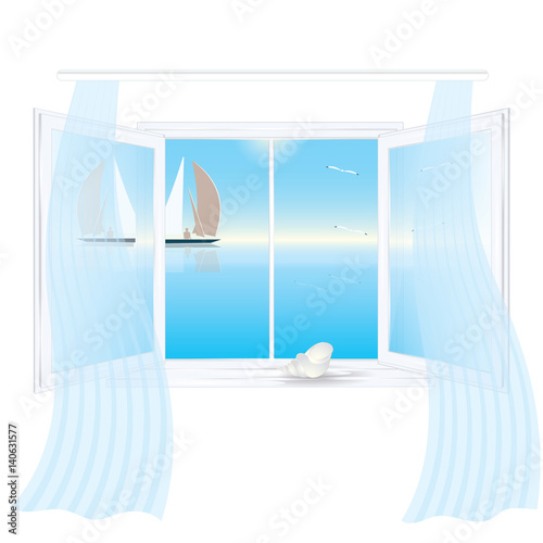 "Transom Windows A Useful Design Element: ""Open Window Outside The Sea Landscape Reflection In The"