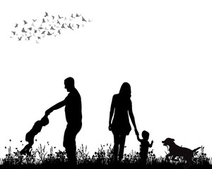 Vector, isolated, silhouette family walking on grass, playing