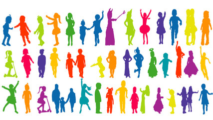 Vector, isolated, silhouette children, collection,multicolored