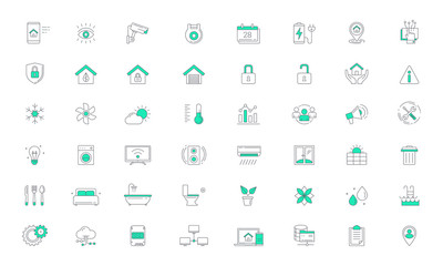 Smart Home, Home Automation Color Line Vector Icon set