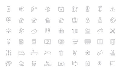 Smart Home, Home Automation Line Vector Icon Set