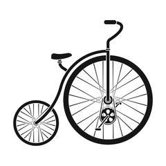 Vintage bicycle. The first bicycle. Huge and small wheel.Different Bicycle single icon in black style vector symbol stock illustration.