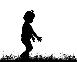Vector, isolated, silhouette child playing in nature, childhood