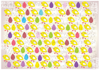 vintage vector easter background with yellow chickens and colored eggs on old music notes paper background