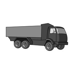 Pickup rural truck. Tow auto. Truck with orange body for the transport of agricultural crops.Agricultural Machinery single icon in monochrome style vector symbol stock illustration.