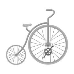 Vintage bicycle. The first bicycle. Huge and small wheel.Different Bicycle single icon in monochrome style vector symbol stock illustration.