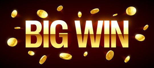 Big Win gambling games banner with big win inscription and gold explosion of coins around
