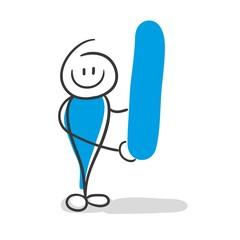 Stick Figure Series Blue / Alphabet I