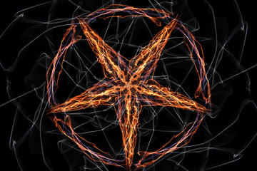 Fired pentagram. Occult background.