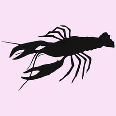 crayfish, lobster vector silhouette isolated