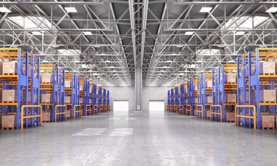 Wall Mural - Empty warehouse full of cargo. 3d illustration