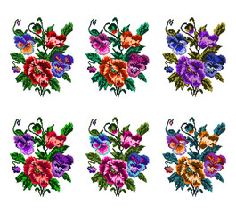 Set. Colorful bouquet of flowers (poppies and pansies) using traditional Ukrainian embroidery elements. Can be used as pixel-art.