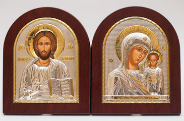 UKRAINE, KYIV - MARCH 2, 2017: The Icon a Mother of God (Mary) and child (Jesus Christ) on gilding wood