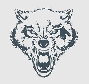 Angry wolf head. Beautiful wolf tattoo. Wild wolf logo vector stock.