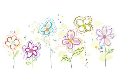 Colorful spring flowers illustration background