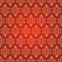 Vector Vintage background for Graphic Design. Golden pattern on a red background.