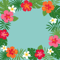 Hibiscus and tropical leaf border frame vector.