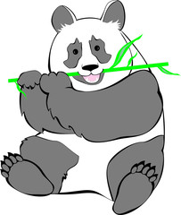 Drawing of a panda sitting and chewing bamboo