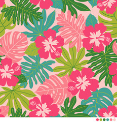 Vector nature pattern with hibiscus flower and leaves.