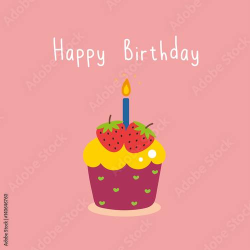 Birthday Card With Cupcakes And Candles Stock Photo And Royalty