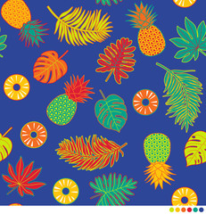 Colorful pineapple and tropical leaf seamless pattern vector.