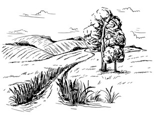 Vector hand drawn illustration landscape with mountains tree road ears in graphical style