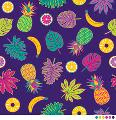 Hibiscus flowers, fruits and palm leaves seamless vector pattern.