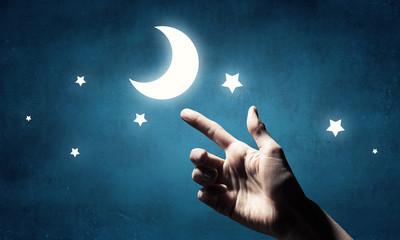 Moon in hand . Mixed media