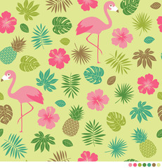 Tropical summer pattern with hibiscus, leaf, pineapple and flamingo