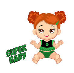 Illustration cute baby girl in the costume of a superhero.