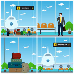 Airport , Waiting Room with a Woman and Men , View on Airplane through the Window ,Luggage Bags for Traveling, Scoreboard Arrival and Departure , Travel and Tourism Concept, Vector Illustration