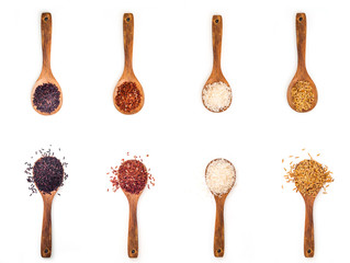Four different kind of rice in different wooden spoon on white table.
