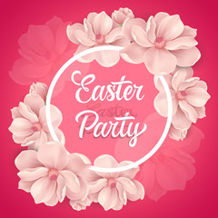 Easter Party Lettering in Circle, Flowers