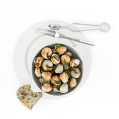 Gol baeng tang is korean style whelk soup, bourguignonne snail au gratin. Top view. Isolated on white background. 3D Rendering, 3D Illustration.