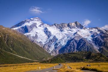 Street leading towards Mount Cook, New Zealand