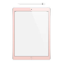 tablet rose gold color and pencil or stylus isolated on white background. stock vector illustration eps10