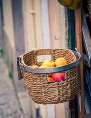 wicker basket of fruit