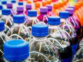 soft drinks bottles in supermarket