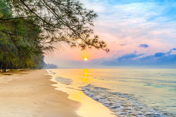 beautiful sunrise on the tropical beach with a little waves and row of pine tree in relaxing time