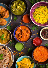 Wall Mural - Assorted indian food
