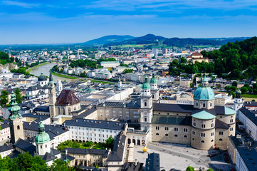 Salzburg City Austria,Aerial beautiful Panoramic View of the historic