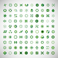 Abstract Icons Set-Isoated On Gray Background,Vector Illustration,Graphic Design.Collection Of Finance,Communication,Technology And Science Pictograms.For Web Site And Corporate Identity Template
