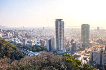 Aerial view of Kobe city in Japan